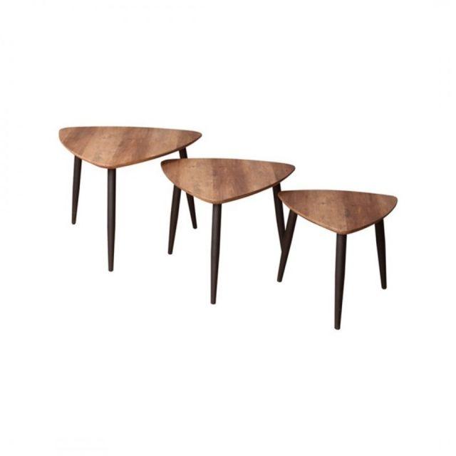 Zoli99 Blackus 3 tables basses avec pieds noirs