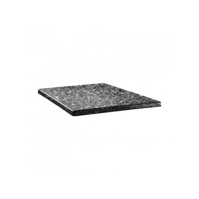 Topalit Plateau de Table Carré 600 x 600 mm - Granite Noir - Granite noir 600 mm