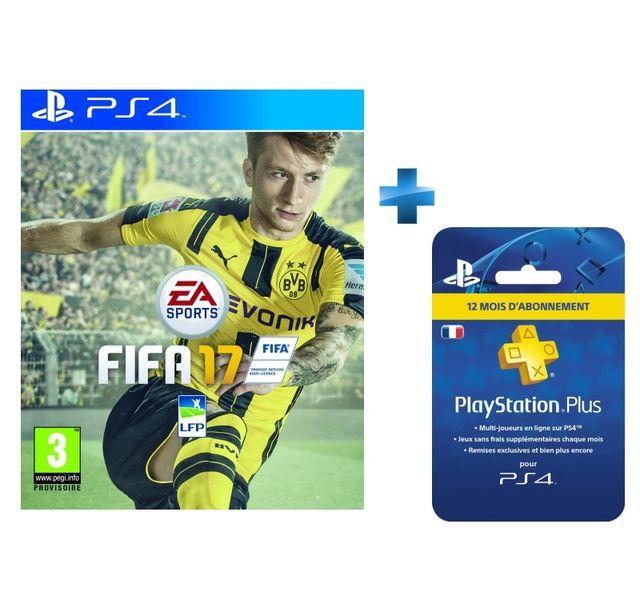 fifa 17 ps4 carte playstation plus abonnement 12 mois achat jeux ps4 sport. Black Bedroom Furniture Sets. Home Design Ideas