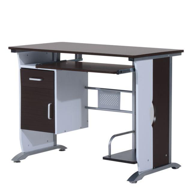 Homcom Bureau Informatique Design 100l X 52l X 75h Cm Brun Noir Et Blanc Pas Cher Achat Vente Bureaux Rueducommerce