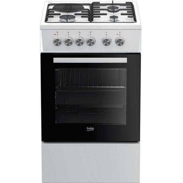 beko cuisini re mixte 60l 4 foyers blanc fss53000dw achat vente cuisini re mixte pas cher. Black Bedroom Furniture Sets. Home Design Ideas