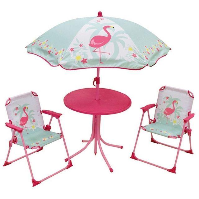 Set de Jardin Flamant Rose 4 Pièces 2 chaises Table et parasol