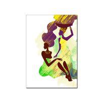 Hexoa - Tableau toile déco silhouettes femmes africaines - Fabrication française