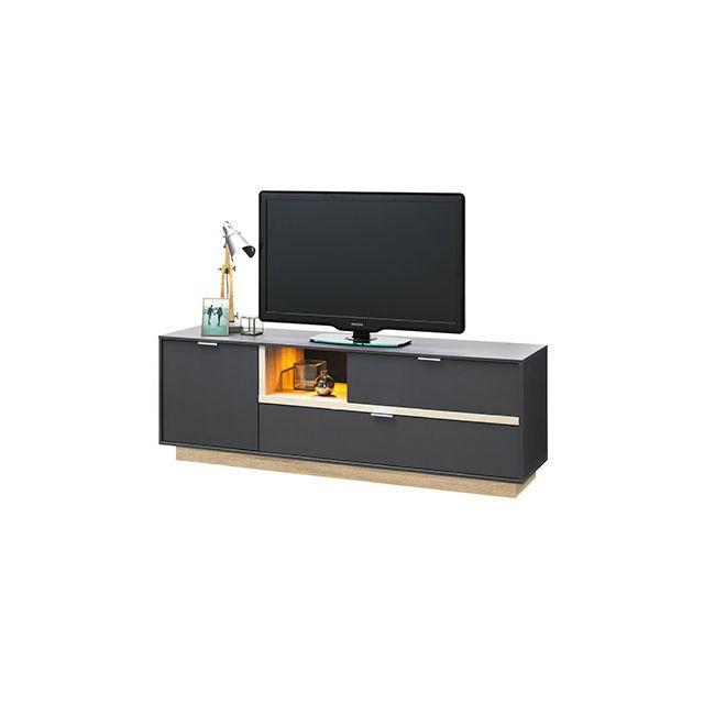 Meuble Tv 176x59x43cm anthracite et bois naturel