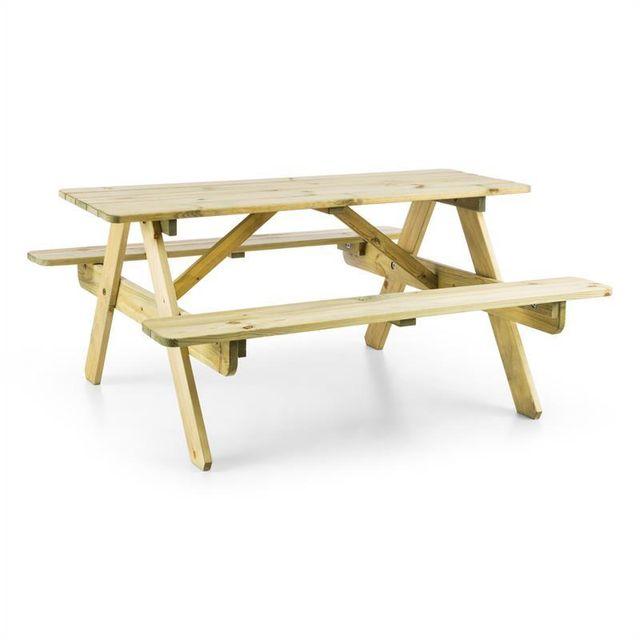BLUMFELDT Table de pique-nique avec banc meuble jardin pour enfants - bois