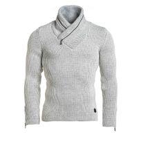 BLZ Jeans - Pull homme blanc côtelé col montant zippé