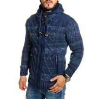 Carisma - Gilet homme zippé bleu indigo en laine tressée
