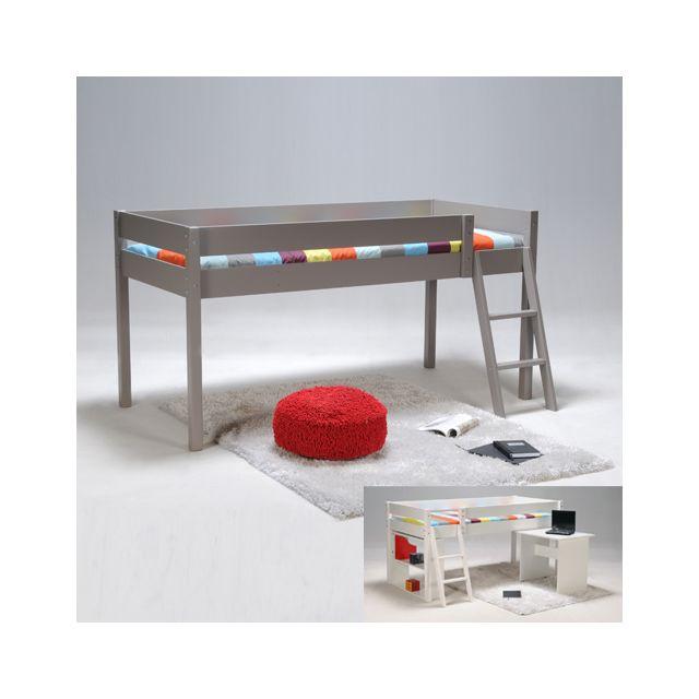 no name lit mi hauteur laura 90x200 1 sommier gris 90cm x 200cm pas cher achat vente. Black Bedroom Furniture Sets. Home Design Ideas
