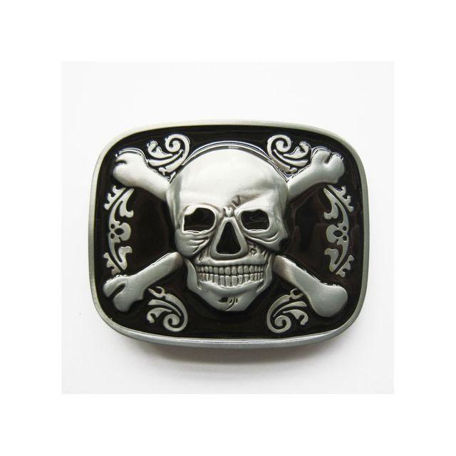 Universel - Boucle de ceinture crane pirate noir blason tete de mort ... 9a830d191b9
