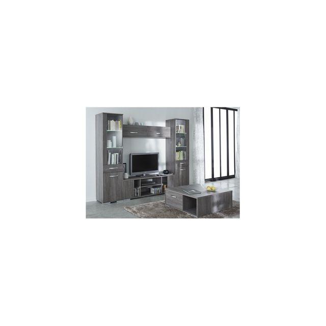 rocambolesk ensemble salon 4 elements banc tv 2 portes vitrees 1 niche vitrine 1 porte 1. Black Bedroom Furniture Sets. Home Design Ideas