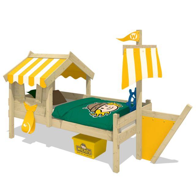 WICKEY Lit en bois pour enfant CrAzy Finny Lit cabane avec toit - jaune
