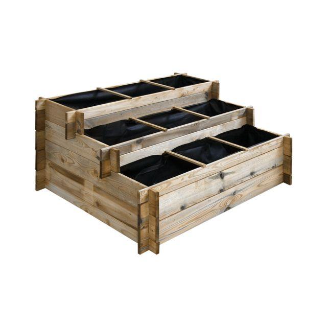 Cemonjardin Carré potager à étages en bois traité 120 x 100 cm