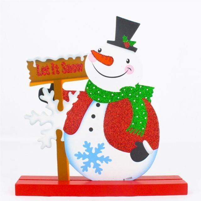Ornements de noël Décoration de restaurant d\u0027hôtel de Noël, poudre de  paillettes modèle de bonhomme de neige en bois de cadeaux