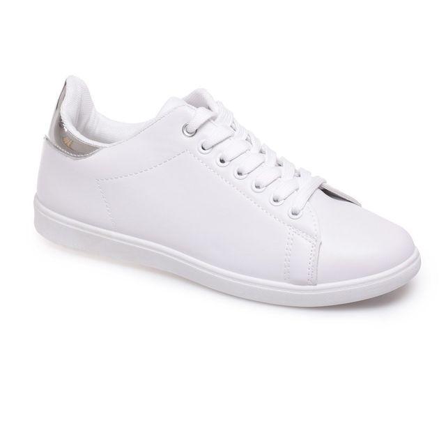 5d90708b299ffd Lamodeuse - Baskets blanches style cuir à empiècement argenté - pas ...