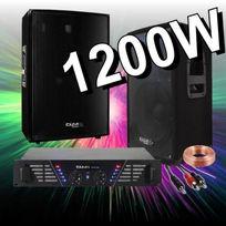 Ibiza Sound - Pack Sono 1200W Avec Ampli Sono + 2 Enceintes 600W. Prix Fou