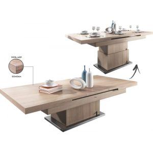 comforium table design 130 170 cm extensible et volutive coloris sonoma marron 133170cm x. Black Bedroom Furniture Sets. Home Design Ideas