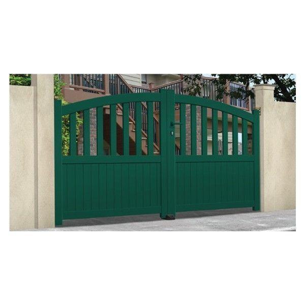 Sonnier Bois Panneaux Menuiserie - Portail Aluminium Fontanette - Coulissant  2 Vantaux assemblés Longueur - 4m - pas cher Achat   Vente Portail en  aluminium ... d660888c9a65