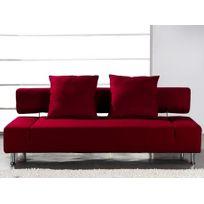 Marque Generique - Canapé clic clac tissu Soft Ii - Rouge