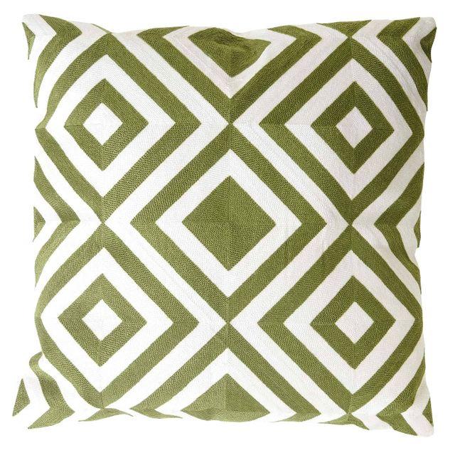 Mendler - Coussin de décoration, losange, coussin avec bourrage, vert, 45x45cm 45cm x 12cm