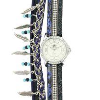 M.johnf - Montre Femme Cuir Bleu Diamants Cz M. John 319