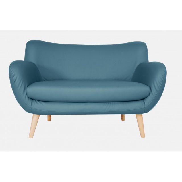 Rocambolesk Canapé Adele 2 Pu soft 08 bleu avec pieds naturels sofa divan