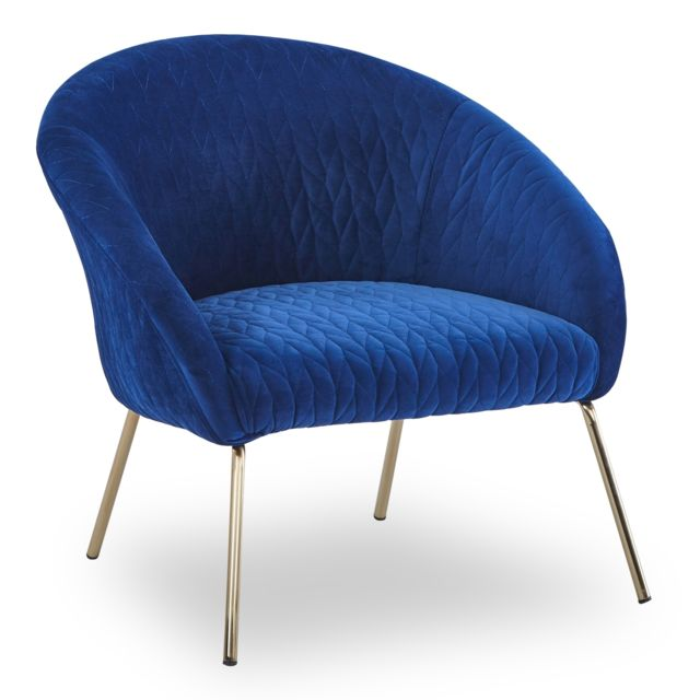 MENZZO Fauteuil Mojo Velours Bleu Pied Or