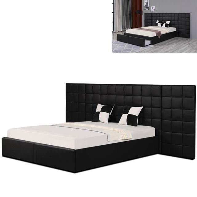 Meubler Design - Lit avec grande tête de lit King - Noir - 140x190 ...