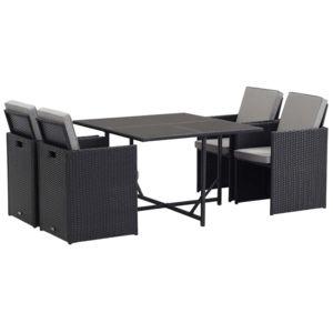habitat et jardin salon de jardin r sine tress e noire atlanta luxe 4 table et 4 fauteuils. Black Bedroom Furniture Sets. Home Design Ideas