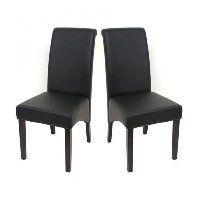 Decoshop26 Set De 2 Chaises De Salle A Manger En Simili Cuir Noir