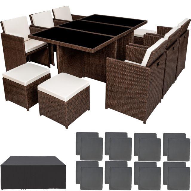 Salon de jardin NEW YORK Résine Tressée Structure Aluminium 6 Chaises 4  Tabourets 1 Table Marron foncé