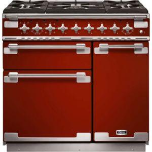Falcon elise90 mixte rouge cerise piano de cuisson - Piano de cuisson rouge ...