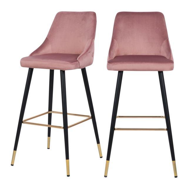 Chaise de bar Aristote en velours rose 77.5 cm lot de 2
