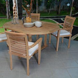 Teck\'ATTITUDE - Salon de jardin en teck qualité Ecograde Marbella, 4 ...