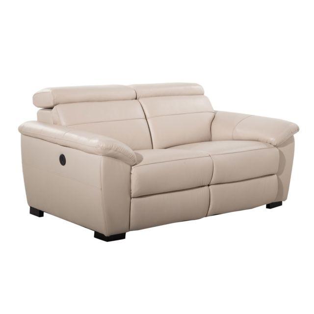 Kaligrafik Canapé 2 fauteuils relax électriques en cuir Goteborg - Beige - 2 places