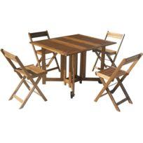 CARREFOUR - Set de jardin - 1 table + 4 chaises - ACACIA