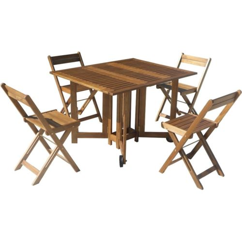 CARREFOUR - Set de jardin - 1 table + 4 chaises - Acacia ...
