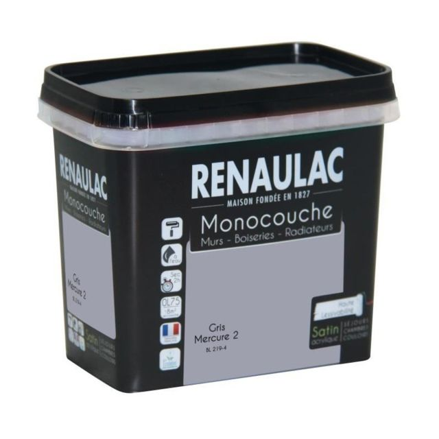 renaulac peinture murale monocouche multi support 0 75 l gris mercure satin pas cher achat. Black Bedroom Furniture Sets. Home Design Ideas
