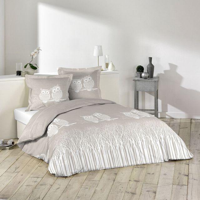 douceur d 39 interieur parure housse de couette 240 x 220 cm edwige chouette hibou pas cher. Black Bedroom Furniture Sets. Home Design Ideas