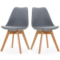 Ego Design - Chaise Norvegia Gris pieds bois lot de 2