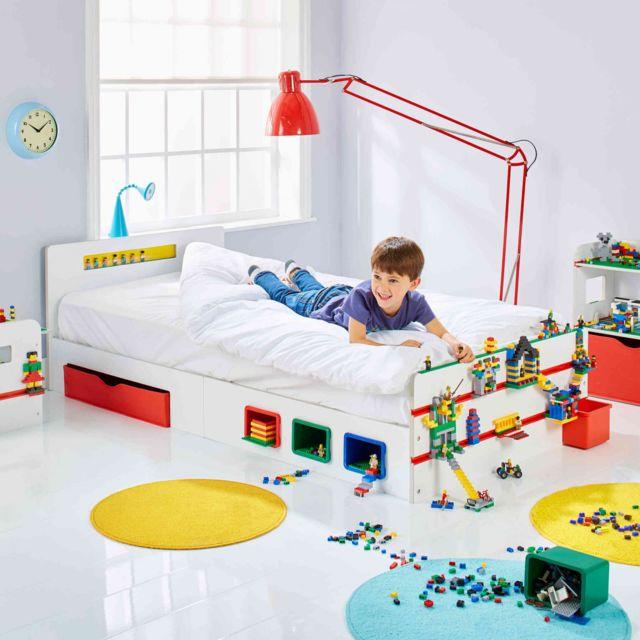 terre de nuit lit enfant avec supports de construction 90x190 blanc 90cm x 190cm pas cher. Black Bedroom Furniture Sets. Home Design Ideas