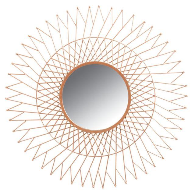 AUBRY GASPARD Miroir soleil en métal cuivré