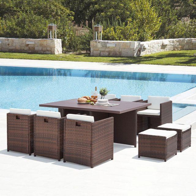 CONCEPT USINE Sunset 10 : salon de jardin encastrable 10 places en résine tressée et aluminium marron/blanc