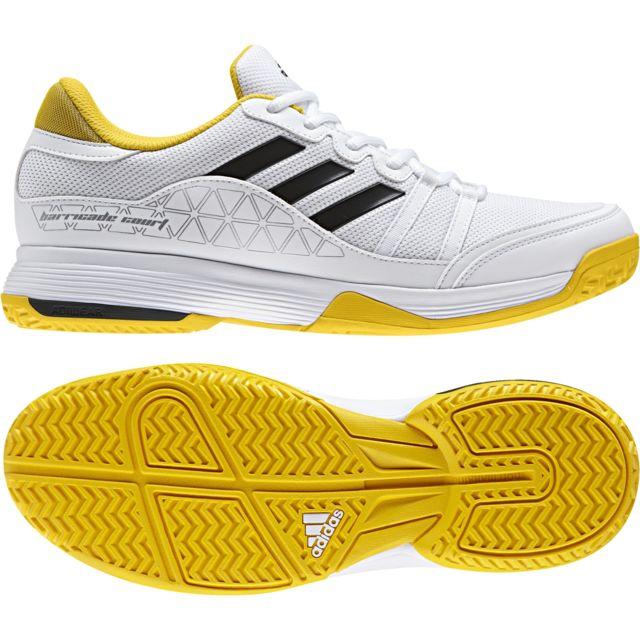 Adidas Chaussures Barricade Court blancnoirjaune flash