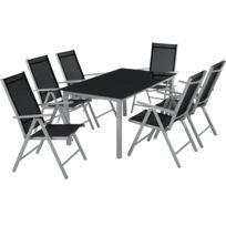 1cd8daf06da TECTAKE - Salon de Jardin avec 6 Chaises Pliantes et 1 Table en Verre et en