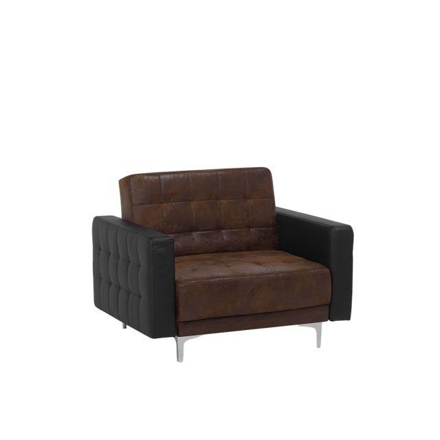 BELIANI Fauteuil en simili cuir brun ABERDEEN - marron
