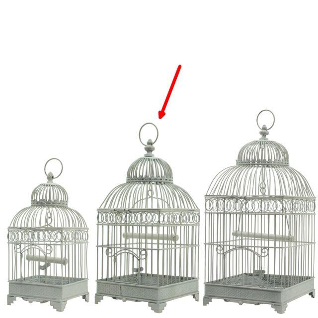 L'ORIGINALE Deco Style Ancienne Cage à Oiseaux en fer Carré Blanc 48 cm x 21 cm x 21 cm