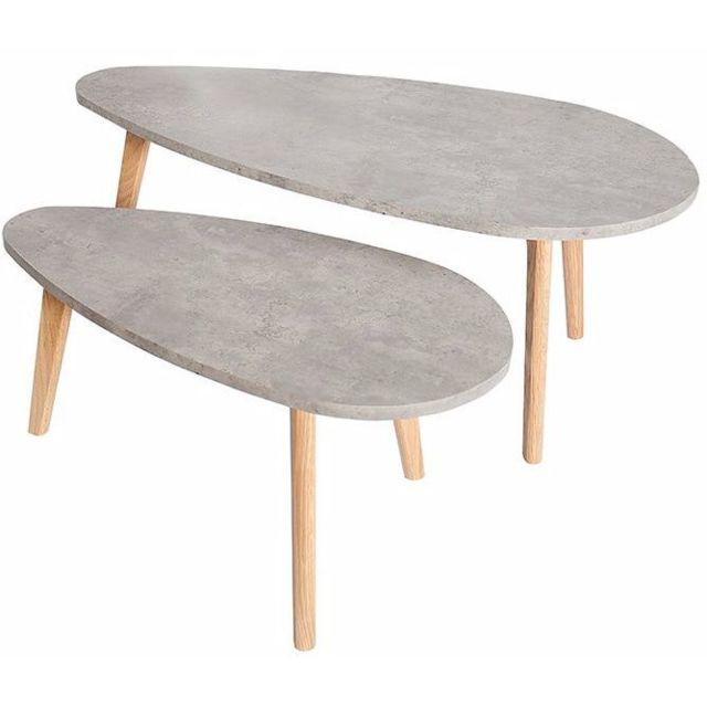 Comforium Lot de 2 tables scandinaves en Mdf et chêne massif coloris gris béton