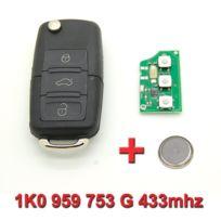 Mygoodprice - Clé avec électronique vierge Volkswagen Polo Passat Golf 1K0 959 753 G 433mhz