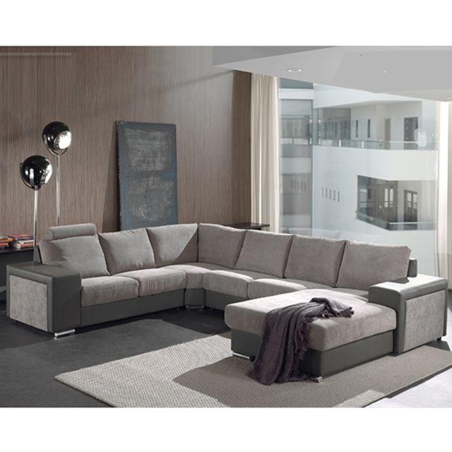 KASALINEA Canapé d'angle panoramique gris ROBIN