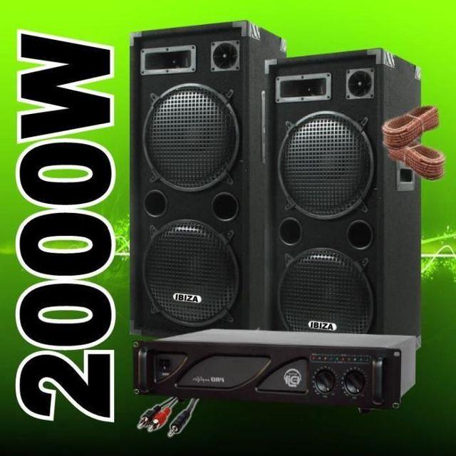 Ibiza Sound New pack 2000 avec 2 enceintes 1000w - 1 ampli sono - cables
